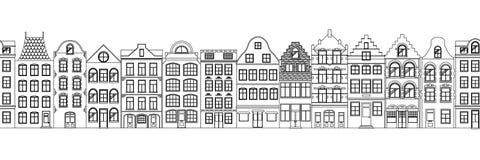 外部逗人喜爱的减速火箭的房子无缝的边界  欧洲大厦门面的汇集 传统建筑学  皇族释放例证