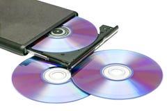 外部dvd驱动器和盘 库存图片