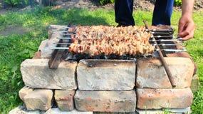 外面开胃shashlik 烹调猪肉 烤肉午餐 免版税图库摄影