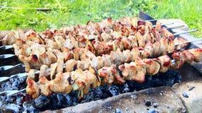 外面开胃shashlik 烹调肉的过程 烤肉午餐 库存照片