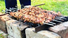 外面开胃shashlik 烹调肉的过程 烤肉午餐 库存图片