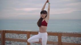 外面禅宗姿势的健康妇女 股票录像