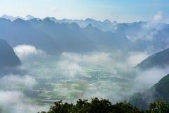 多个山峰鸟瞰图和米调遣Bac儿子,越南 免版税库存图片