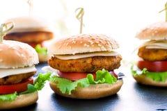 多个微型鸡汉堡 免版税库存照片
