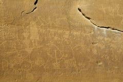 多个标志Anasazi刻在岩石上的文字盘区 免版税图库摄影