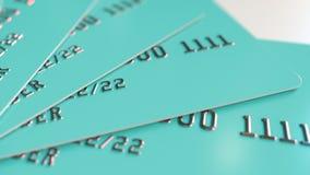 多个深蓝银行卡, 3D翻译 免版税库存照片