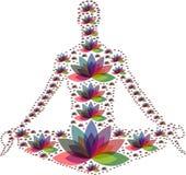 多个颜色花禅宗庭院瑜伽商标 图库摄影