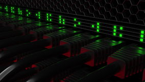 多个patchcord连接器和眨眼睛绿色LEDs 网络、云彩技术或者现代数据中心概念 3d 免版税库存照片