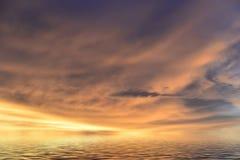 多云和日落 库存照片