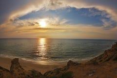 多云壮观的日落 库存图片