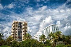 多云天空的议院在迈阿密,美国 公寓或旅馆大厦在有绿色棕榈树的庭院里 建筑学和房地产 图库摄影