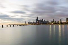 多云早晨在芝加哥 库存照片