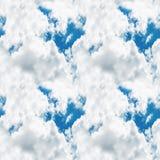多云明亮的蓝天无缝的纹理背景 图库摄影