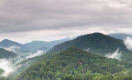 多云有雾的横向nountain夏天 免版税库存图片