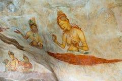 多云未婚,斯里兰卡古老壁画  免版税库存图片