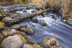多云阴沉的天气的秋天河 库存图片