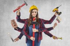 多任务女工,许多手 免版税库存照片
