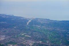 多伦多和安大略湖鸟瞰图  库存图片