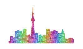 多伦多地平线剪影-多色线艺术 免版税库存图片