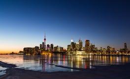 多伦多地平线在从东方的冬天 免版税库存图片