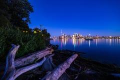多伦多夜城市视图夏时安大略加拿大 图库摄影