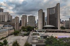 多伦多安大略市政厅加拿大的冒充的鸟瞰图 免版税库存图片
