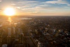 多伦多市从上面-多伦多,安大略,加拿大日落视图  图库摄影