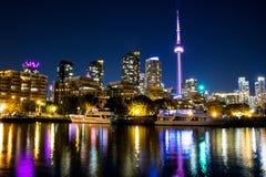 多伦多的夜视图,安大略地平线 库存照片