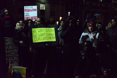 多伦多的黑人公共福格逊抗议者团结采取行动 库存图片