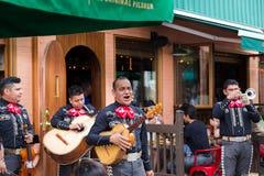 多伦多,加拿大- 2018年7月29日:墨西哥流浪乐队结合在人群前面的戏剧在多伦多` s充满活力的肯辛顿市场上 免版税库存照片
