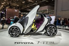 多伦多,加拿大- 2018-02-19 :丰田在丰田Motor Corporation博览会显示的i-TRIL概念在2018年 库存照片