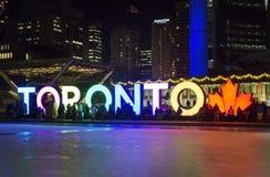 多伦多,加拿大- 2018-01-01 :在多伦多前面的人们签字与圣诞树在横跨滑冰被观看的夜 免版税库存照片