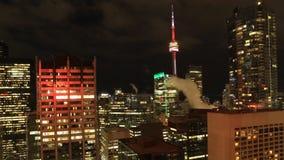 多伦多Timelapse鸟瞰图在黑暗的4K以后的 股票视频