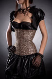 维多利亚女王时代的样式服装和玫瑰色corse的可爱的少妇 免版税库存照片