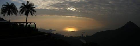 从维多利亚峰顶射击的香港海岛 免版税库存图片