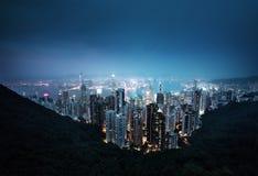 从维多利亚峰顶的香港 库存照片
