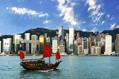 维多利亚港香港视图 免版税库存图片