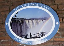 维多利亚瀑布入口标志 免版税库存照片