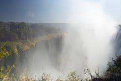 维多利亚瀑布,利文斯东,赞比亚宽看法背景风景  图库摄影