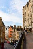 维多利亚街看法在爱丁堡,苏格兰 免版税图库摄影
