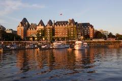 维多利亚,不列颠哥伦比亚省,日落的内在港口 免版税图库摄影