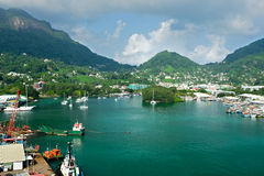 维多利亚,位于塞舌尔群岛的内在港口港  免版税库存照片