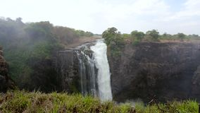 维多利亚,秋天,非洲,津巴布韦,自然,瀑布,赞比西河,峡谷,水,风景,新鲜,河,飞溅,峡谷,彩虹, tra 股票录像