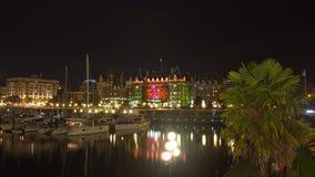 维多利亚, BC,加拿大- 8月15 :繁忙的内在港口夜在比克 免版税库存图片