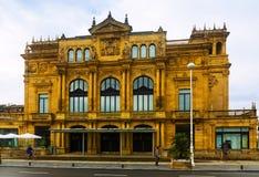 维多利亚Eucenia剧院外部  圣塞巴斯蒂安 免版税图库摄影