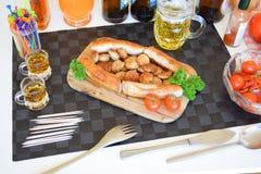 多味腊肠,德国多味腊肠,德国香肠,韦斯香肠,巴法力亚香肠,食物 图库摄影