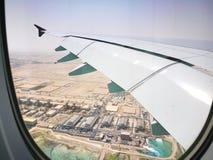 多哈卡塔尔, 2017年3月17日飞行与卡塔尔航空在哈马德国际机场是多哈国际机场  免版税图库摄影