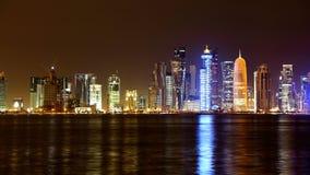 多哈卡塔尔 夜地平线 库存照片