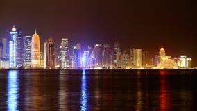多哈卡塔尔 夜地平线 免版税库存图片