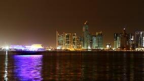多哈卡塔尔 夜地平线 图库摄影
